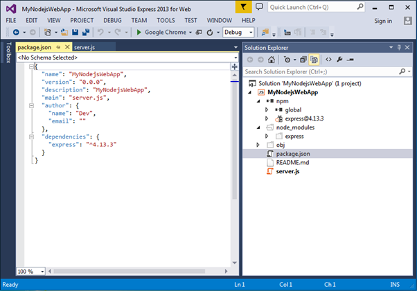 Install Express.js in Visual Studio